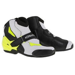 Alpinestars SMX 1R Vented Ride Motorcycle Boots - Black/White/Yellow