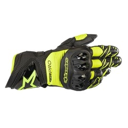 Alpinestars GP Pro R3 Leather Motorcycle Gloves - Black/Yellow