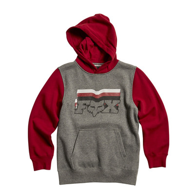 Fox Youth Farout Pullover Hooded Fleece - Grey/Red